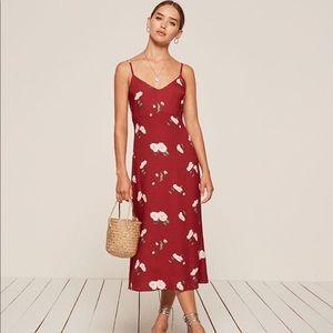 Reformation Boston Red Floral Dress Midi Slip